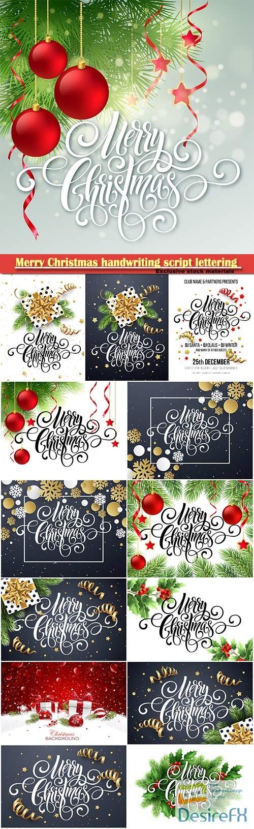 Merry Christmas handwriting script lettering