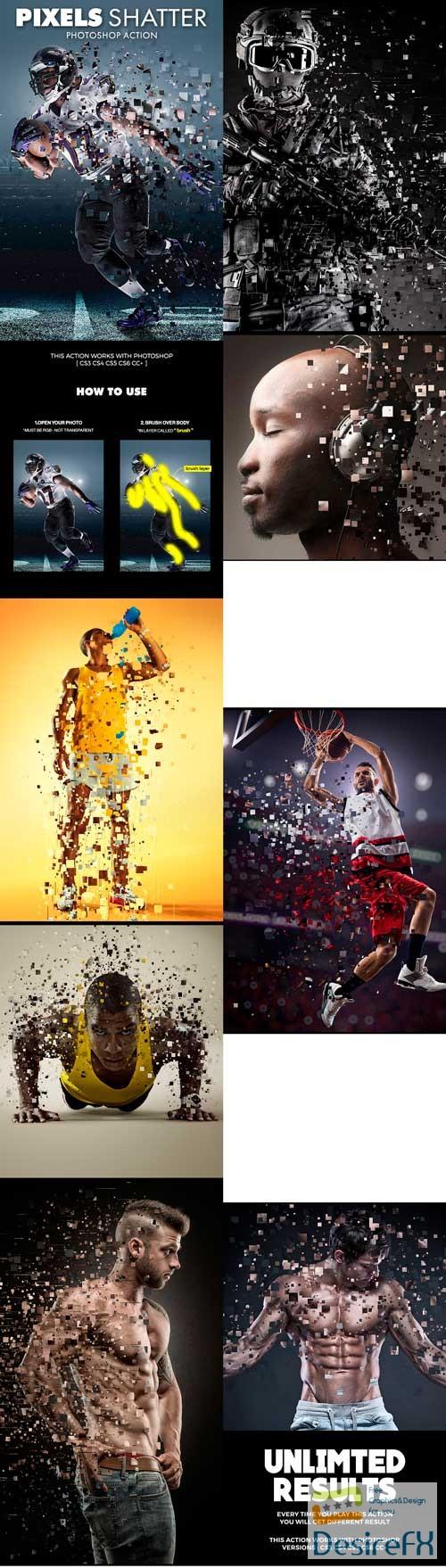 Graphicriver Pixels Shatter Photoshop Action