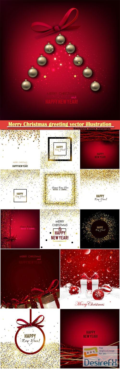 Merry Christmas greeting vector illustration