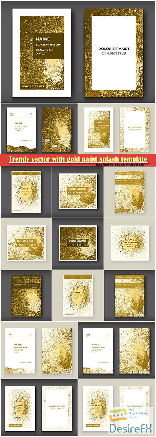 Trendy vector with gold paint splash template