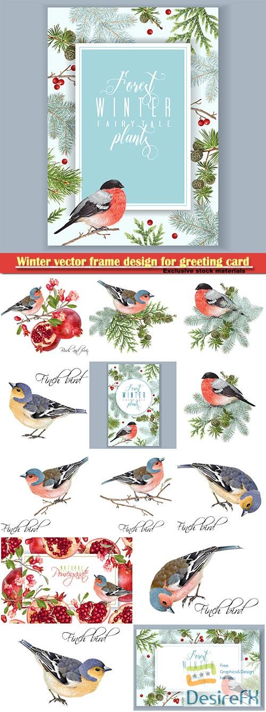 Winter vector frame design for greeting card