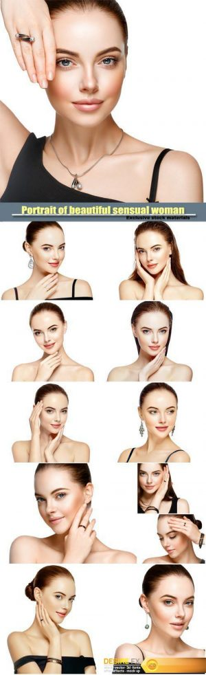 Beautiful woman portrait with fashion model jewelry