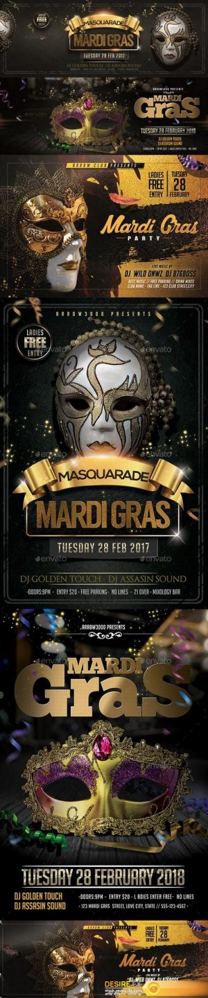 Graphicriver Mardi Gras Flyer Bundle V4 19451384