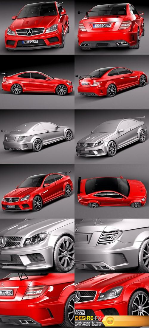 3d-models - Mercedes-Benz C63 AMG Black Series 2012 3D Model