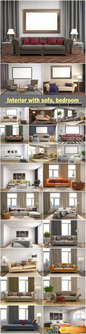 Interior with sofa, bedroom interior, 3d illustration