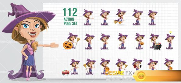 characters - Witch Wearing Cape Cartoon Character