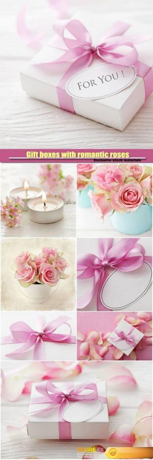 Gift boxes with romantic roses