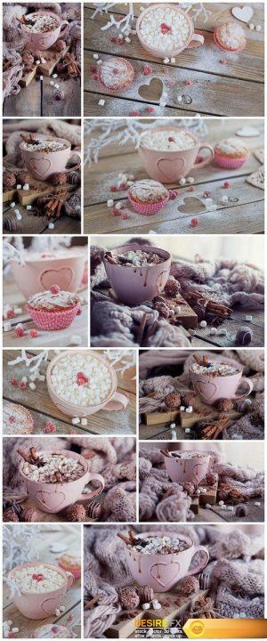 Tasty cupcake with berries and cup of coffee,Christmas or New Year composition 12X JPEG