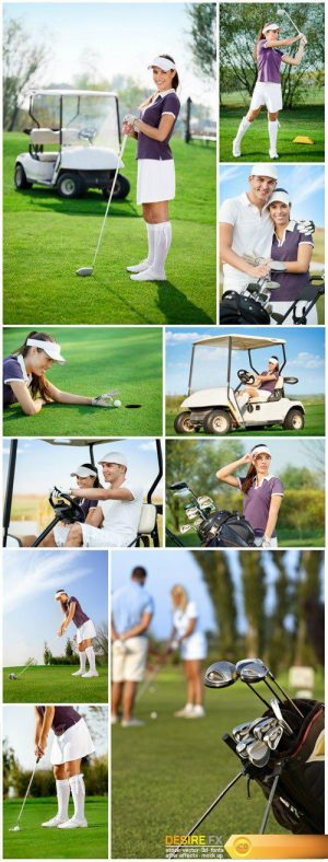Men and woman on golf course