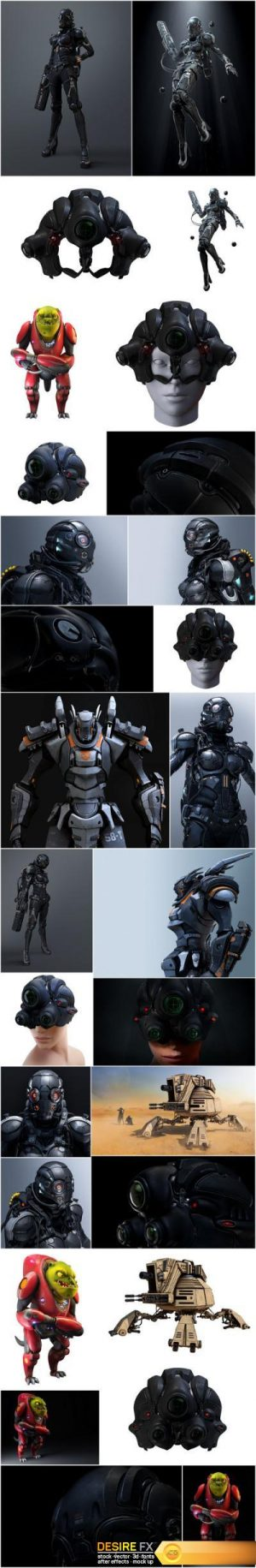 3D rendering cyborg girl, robot and space pirate – Set of 28xUHQ JPEG