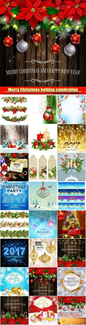 Christmas decoration and greeting card with golden ornamental xmas balls