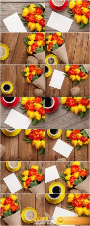 Colorful tulips, greeting card and coffee – Set of 14xUHQ JPEG Professional Stock Images