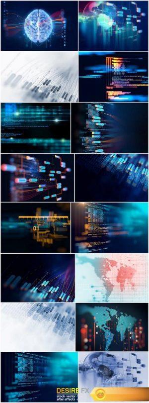 Big data futuristic visualization abstract illustration – Set of 16xUHQ JPEG Professional Stock Images