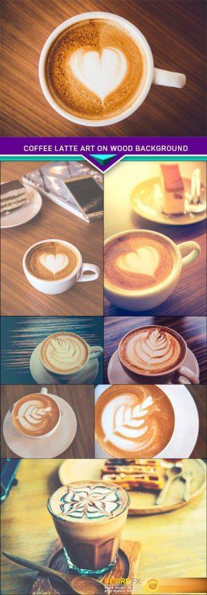 Close up Coffee latte art on wood background 8X JPEG