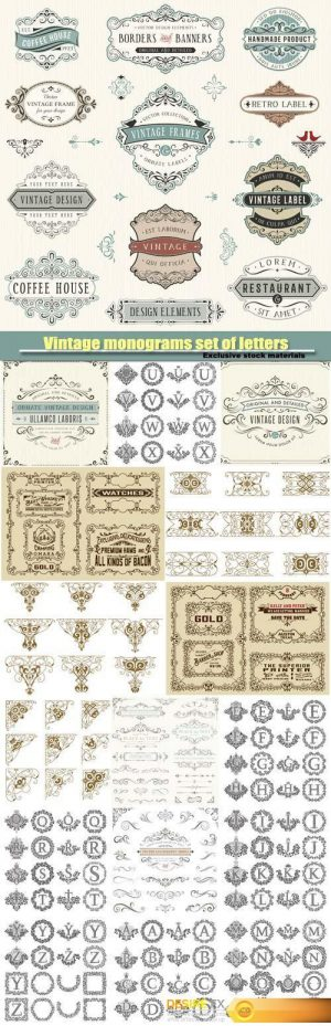 Vintage monograms set of letters, floral frames, retro label
