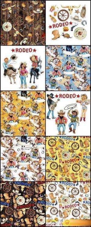Rodeo american cowboy seamless background 10X JPEG