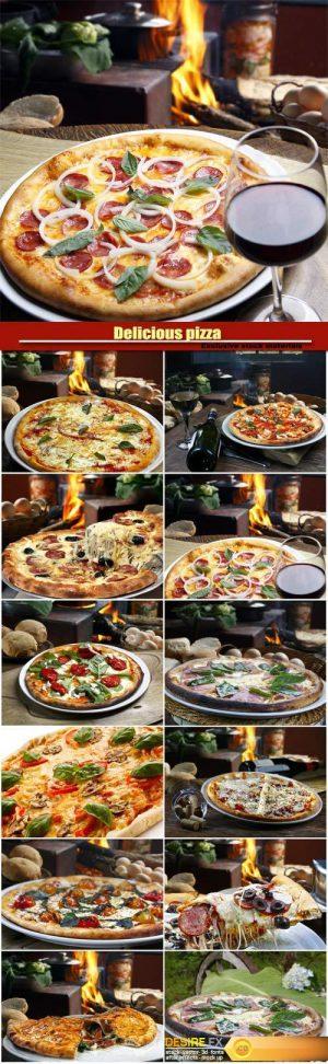 Delicious pizza, pepperoni, calzone