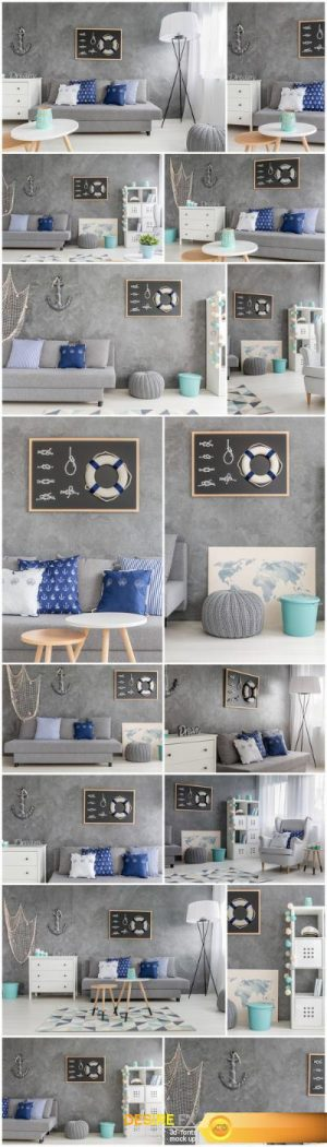 Living room with nautical decorations – 16xUHQ JPEG