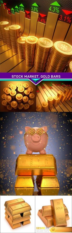 Stock Market, Gold Bars 6X JPEG