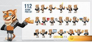 Business Tiger Cartoon Character