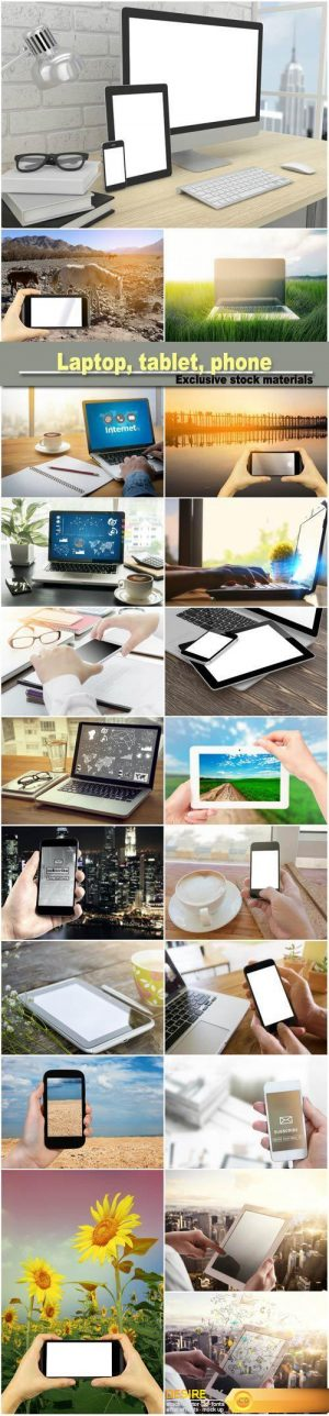 Laptop, tablet, phone on table in office