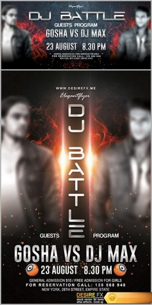 DJ Battle 2017 Flyer PSD Template + Facebook Cover