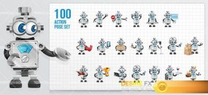 Vintage Robot Cartoon Character
