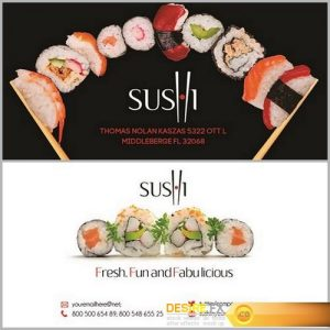 Sushi Business card PSD Template