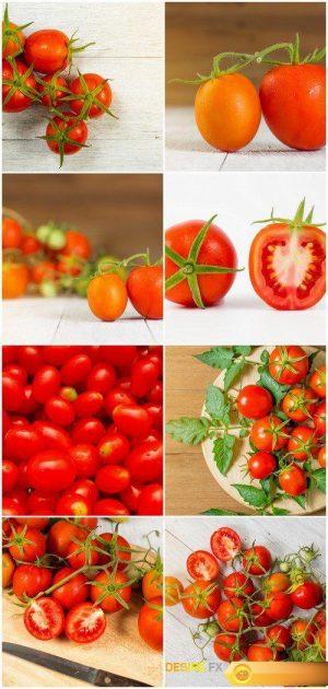 Fresh tomato on wooden background 8X JPEG