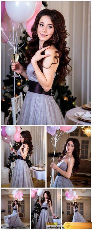 Beautiful brunette with a balloon 6X JPEG
