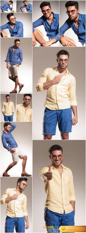 Young fashion man on grey studio background 12X JPEG