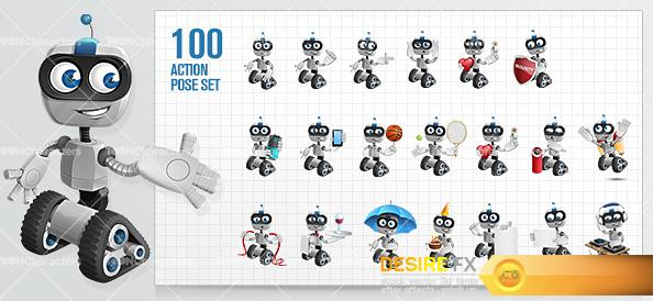 Robot on Wheels Cartoon Character