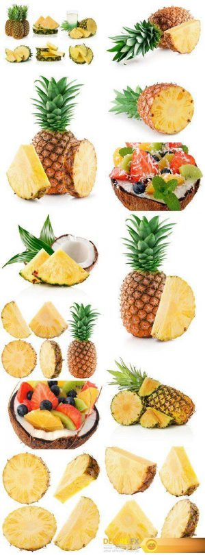 Pineapple slices and half of coconut isolated on the white background 12X JPEG