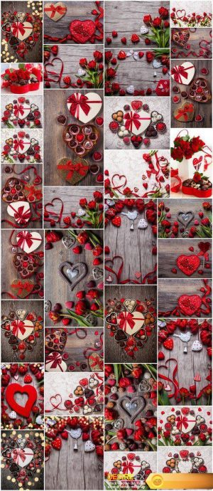 Valentines Day chocolate truffles with red flowers 35X JPEG