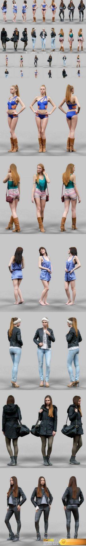 6 Realistic Female Characters Vol. 1 3D Model