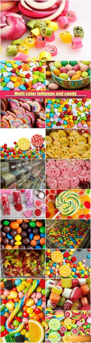 Multi color lollipops and candy