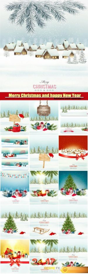 Christmas and happy New Year holiday background with presents and magic box