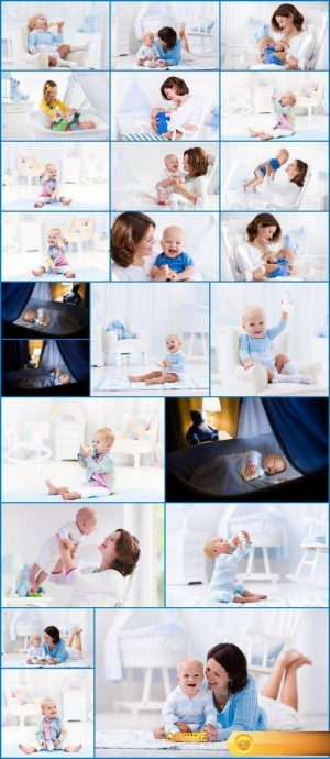 Happy young mother with baby boy at home 23X JPEG