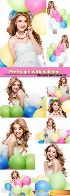 Smiling pretty girl with balloons