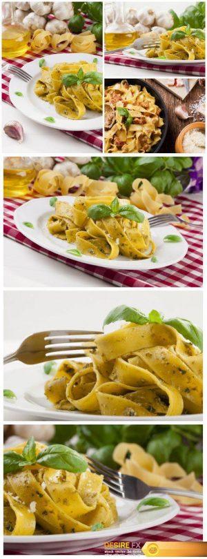 Delicious pasta tagliatelle with pesto