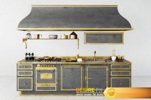 Retro Style Kitchen -18 3D Model