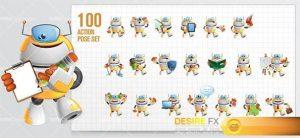 Funny Robot Cartoon Character Set
