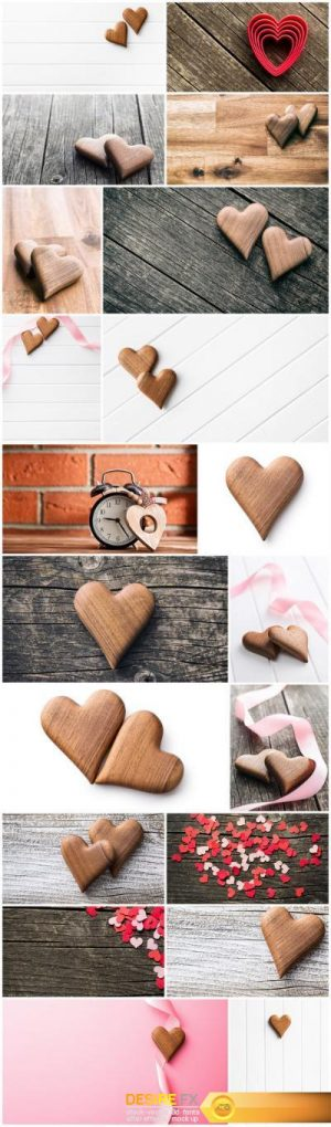 Wooden Heart & Love – Happy Valentines Day – Set of 20xUHQ JPEG Professional Stock Images
