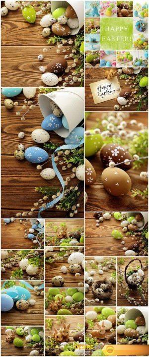 Eggs easter decoration wood background 18X JPEG