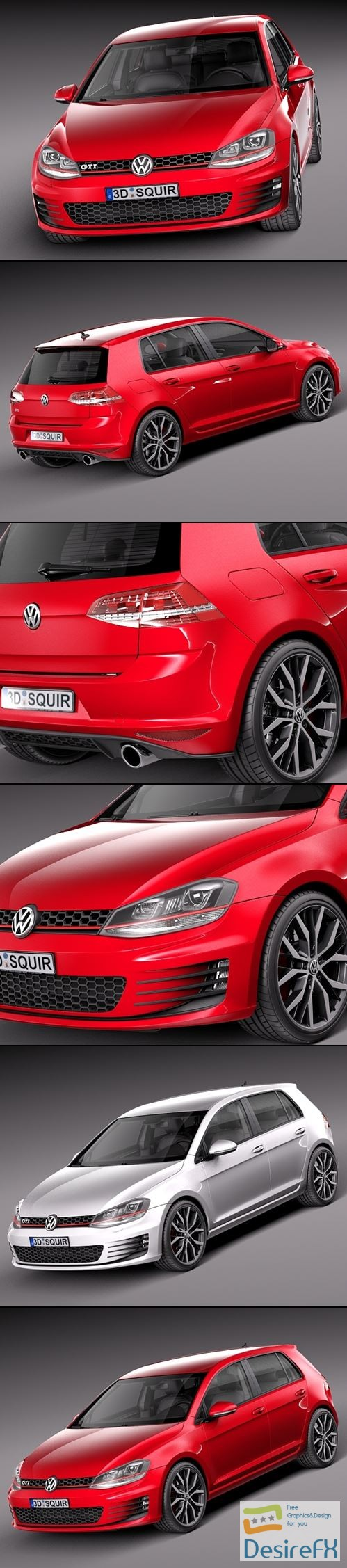 3d-models - Volkswagen Golf VII GTI 5-door 2014 3D Model