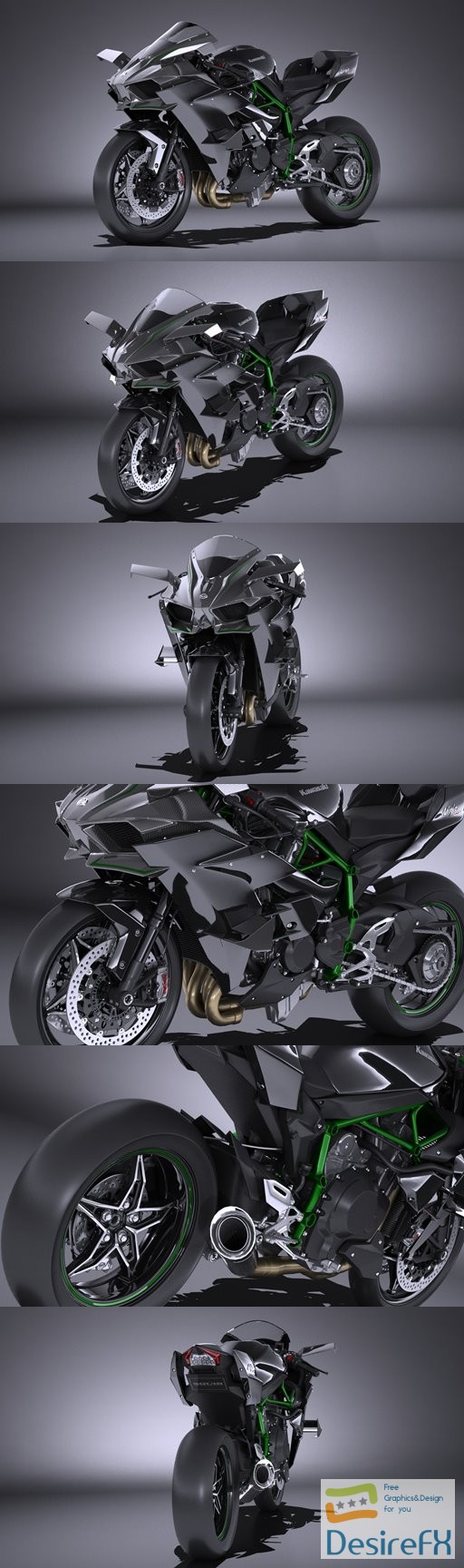 Kawasaki Ninja H2R Supercharged 2016 3D Model