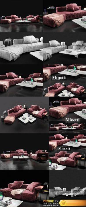 Sofa Minotti Lounge Freeman 3D Model