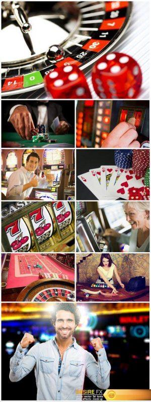 People play in the casino, gambling, playing cards