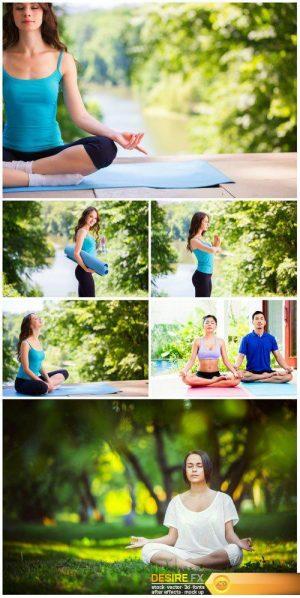 People practice yoga