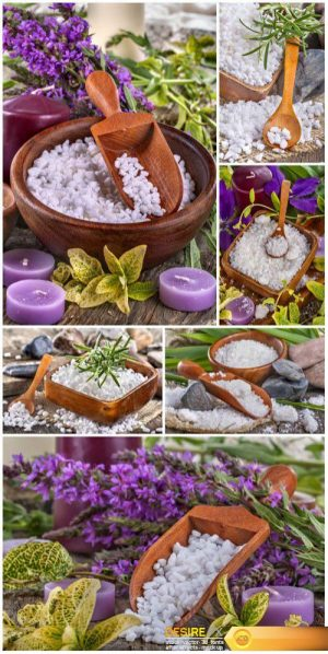 Salt bath in wooden bowl with beautiful flowers and leaves